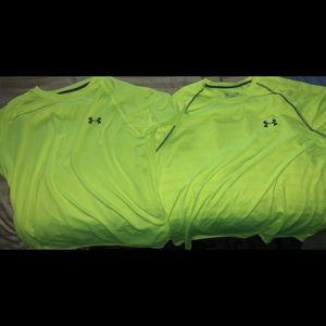 Two Neon Yellow underarmour shirts size large